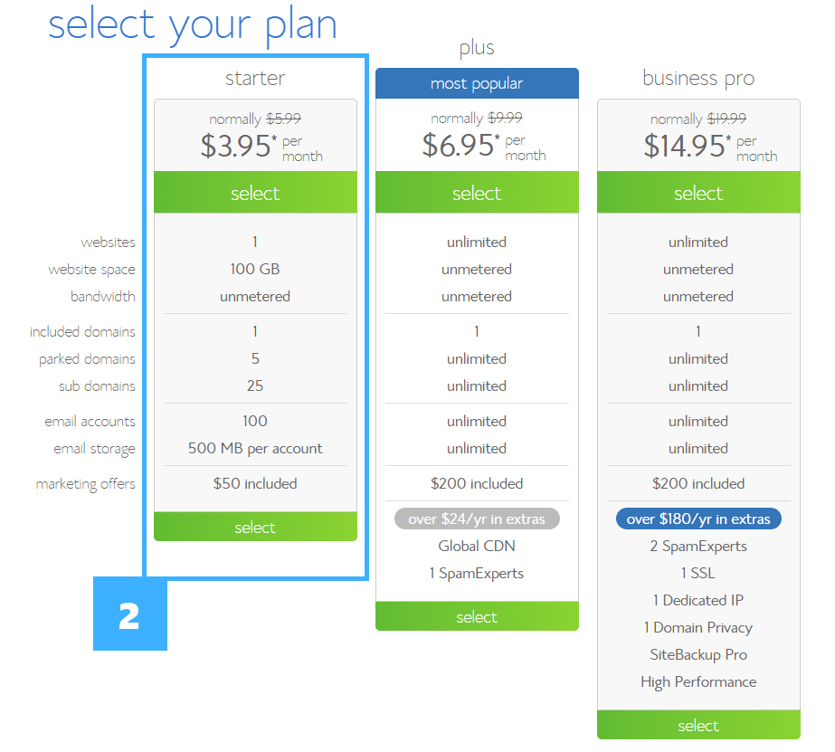 2 select your plan bluehost