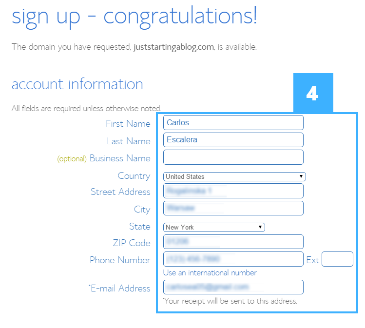 4 sign up - congratulations filled