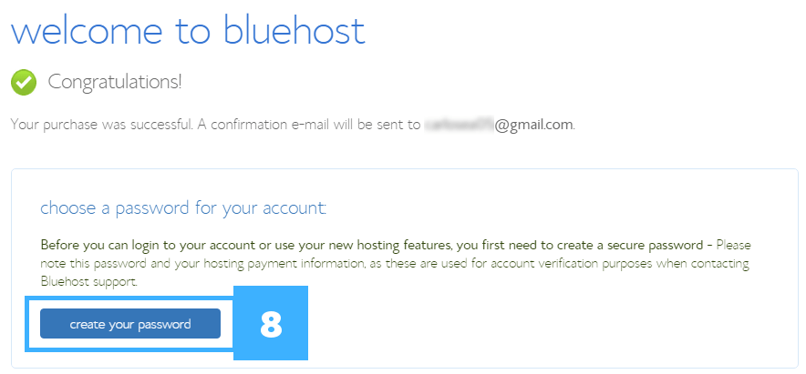 8 welcome to bluehost choose a password for your account