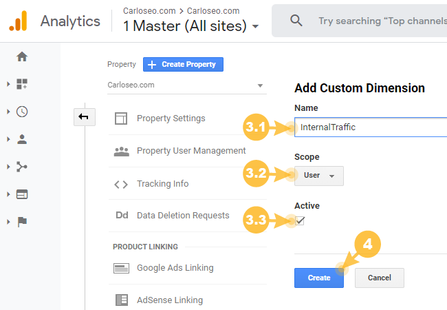 Configure Internal Traffic Custom Dimension in Google Analtycs