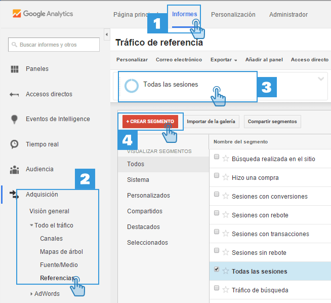 Crear Segmento para Spam en Google Analytics
