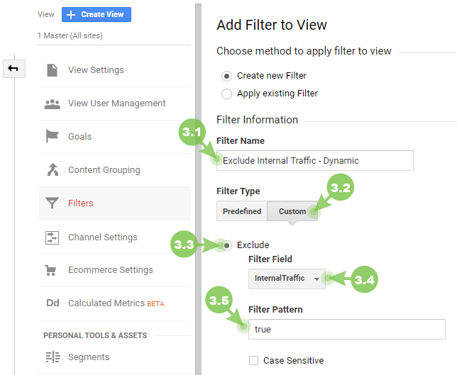 Create a filter for dynamic IPs in Google Analytics
