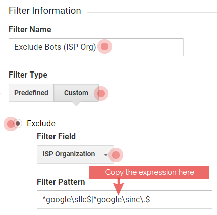Filter google llc and 127.0.0.1.8888 in Google Analytics