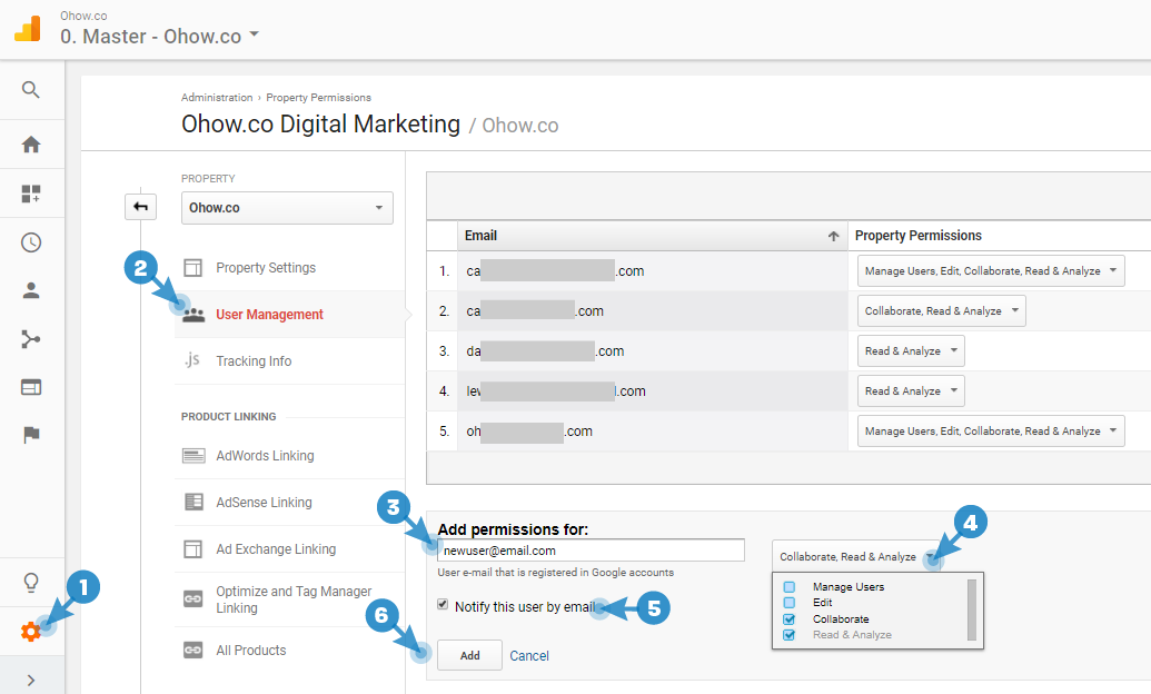 How to add new users with the correct permissions to Google Analytics