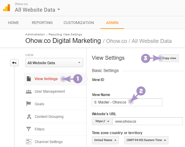 How to copy a view Google Analytics