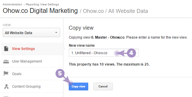 How to create an unfiltered view Google Analytics