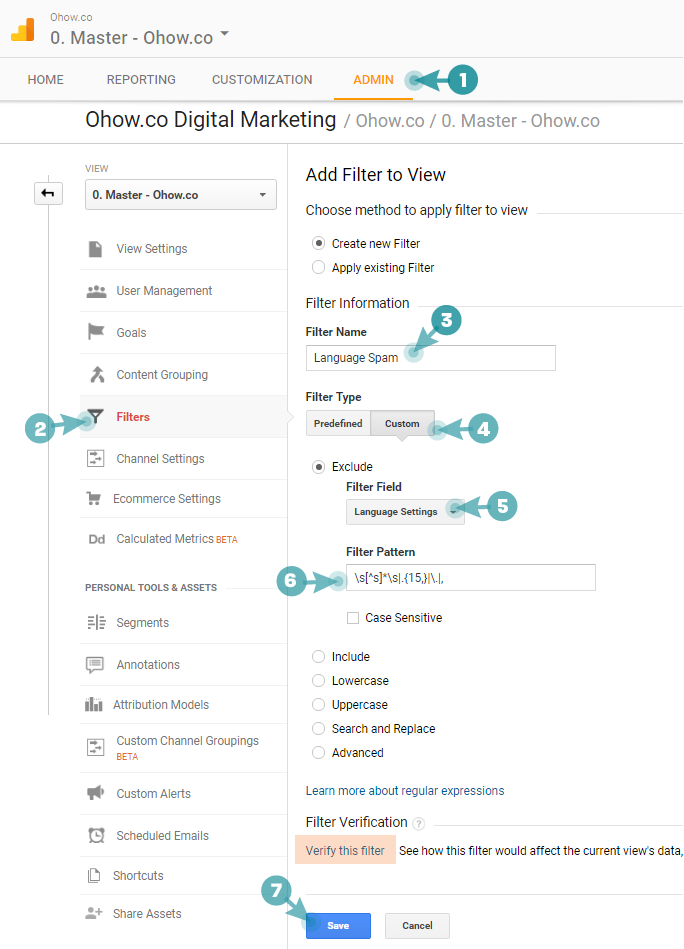 How to filter language spam in Google Analytics