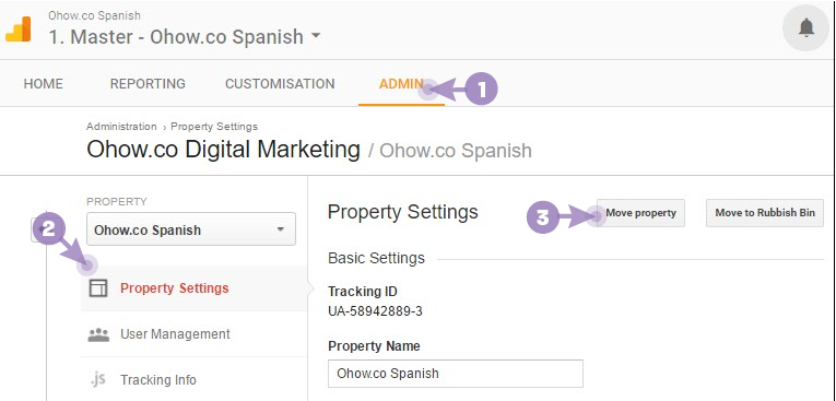 How to transfer properties between google analytics accounts