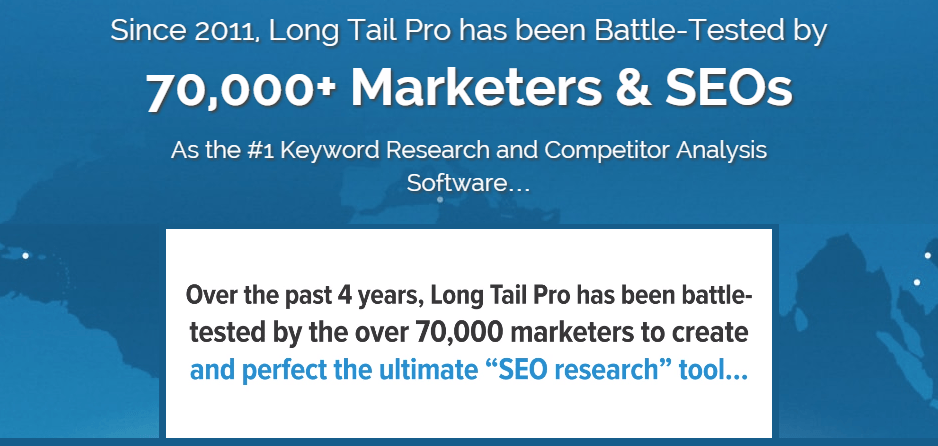 Long Tail Pro over 70000 marketers