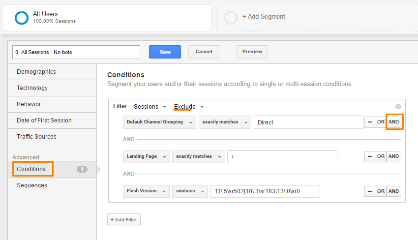 Unusual direct traffic Segment Google Analytics