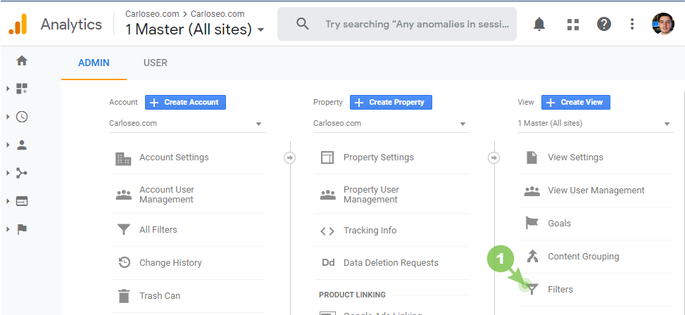 View filter in Google Analytics