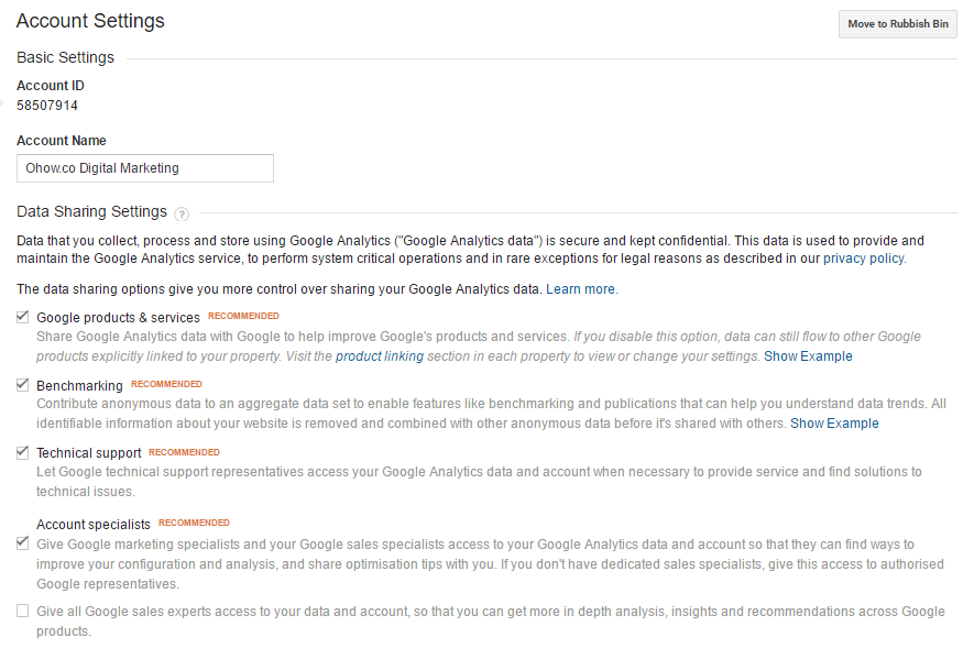 How to change data sharing settings google analytics